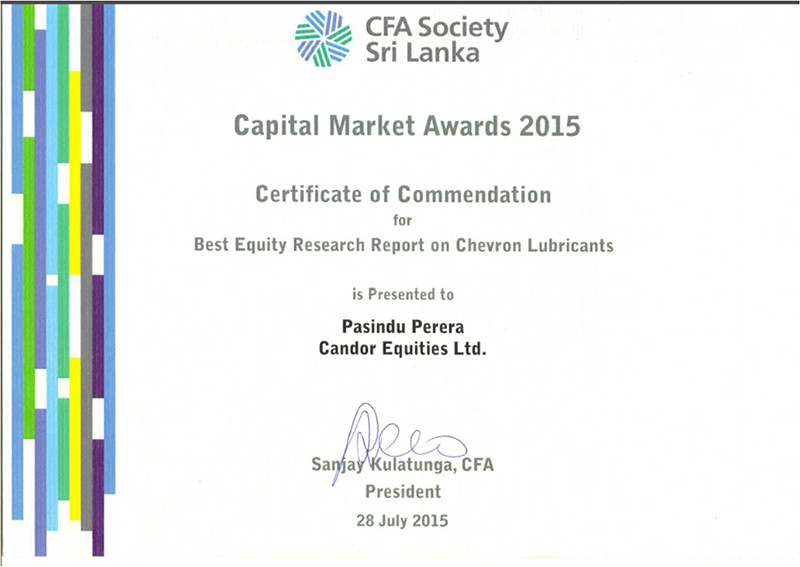 CFA – Capital Market Awards 2015 – Best Equity Research Report