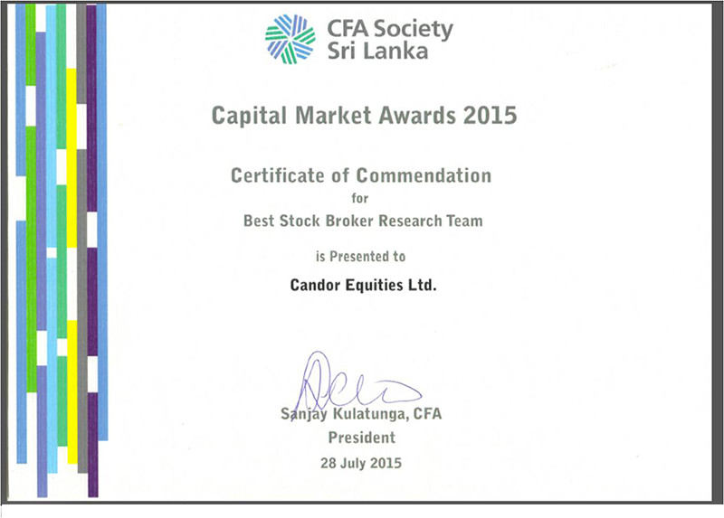 CFA – Capital Market Awards 2015 – Best Stock Broker Research Team